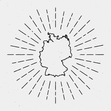 Vector Germany Map Outline with Retro Sunburst Border. Hand Drawn Hipster Decoration Element. Black Radiant Light Rays on White Background. Illusztráció