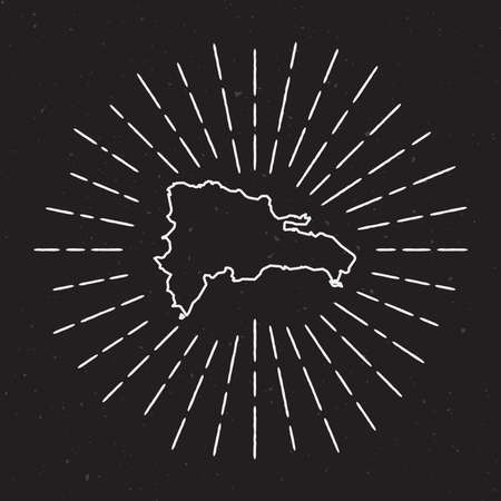 Dominican Republic Vector Map Outline with Vintage Sunburst Border. Hand Drawn Map with Hipster Decoration Element. Radiant Light Rays around country Map on Black Background. Ilustração