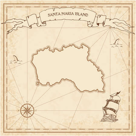 Santa Maria Island old treasure map. Sepia engraved template of pirate island parchment. Stylized manuscript on vintage paper.