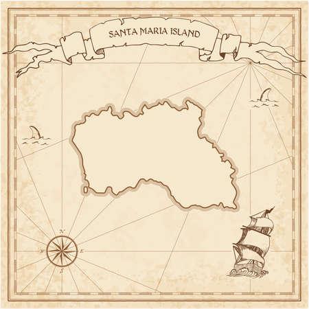 Vecchia mappa del tesoro dell'isola di Santa Maria. Modello inciso seppia di pergamena dell'isola dei pirati. Manoscritto stilizzato su carta vintage. Vettoriali