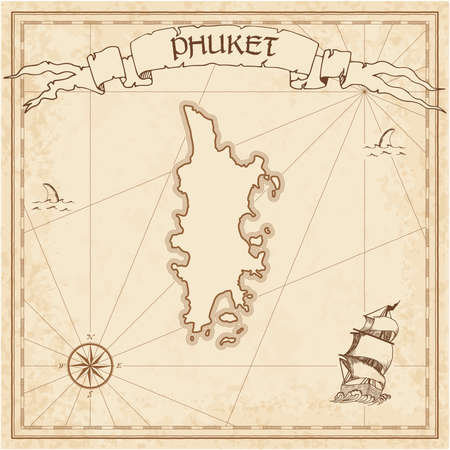 Phuket old treasure map. Sepia engraved template of pirate island parchment. Stylized manuscript on vintage paper.