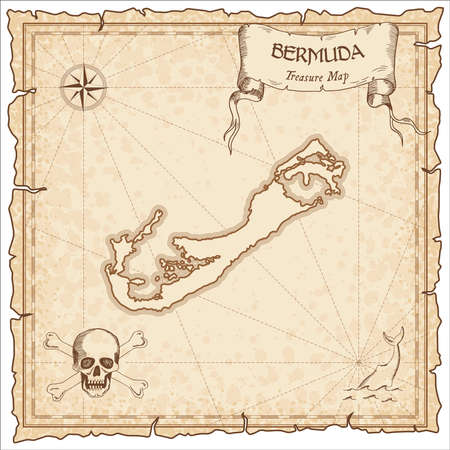 Bermuda old pirate map. Sepia engraved parchment template of treasure island. Stylized manuscript on vintage paper.