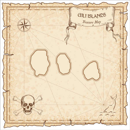 Gili Islands old pirate map. Sepia engraved parchment template of treasure island. Stylized manuscript on vintage paper.