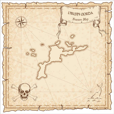 Virgin Gorda old pirate map. Sepia engraved parchment template of treasure island. Stylized manuscript on vintage paper.