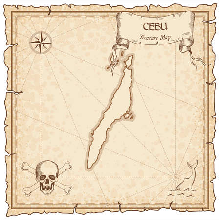 Cebu old pirate map. Sepia engraved parchment template of treasure island. Stylized manuscript on vintage paper. Vector Illustration