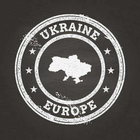 White chalk texture grunge stamp with Ukraine map on a school blackboard. Grunge rubber seal with country map outline, vector illustration.