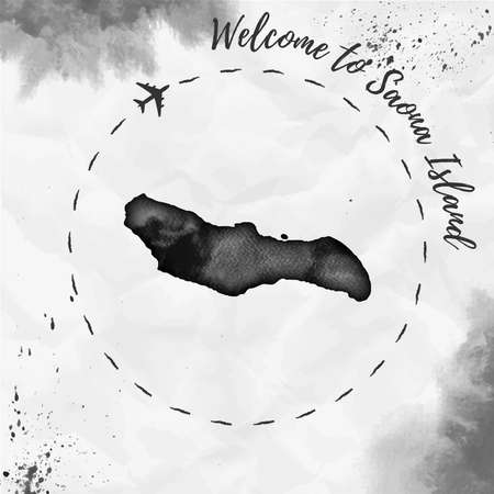 Saona Island watercolor island map in black colors. Welcome to Saona Island poster with airplane trace and handpainted watercolor Saona Island map on crumpled paper. Vector illustration. Ilustração