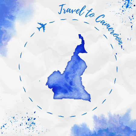 Watercolor map in blue colors. Travel to Cameroon poster with airplane trace and handpainted watercolor map on crumpled paper. Vector illustration. Illustration