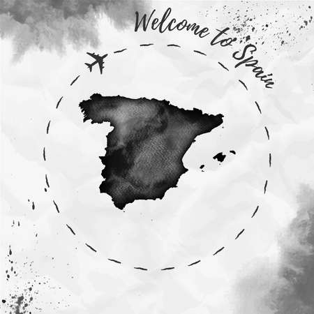 Spain watercolor map in black colors. Welcome to Spain poster with airplane trace and handpainted watercolor Spain map on crumpled paper. Vector illustration.