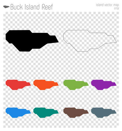 Buck Island Reef high detailed map. Island silhouette icon. Isolated Buck Island Reef black map outline. Vector illustration.