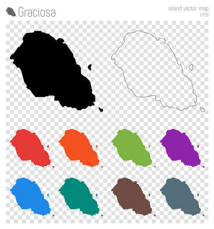 Graciosa high detailed map. Island silhouette icon. Isolated Graciosa black map outline. Vector illustration.