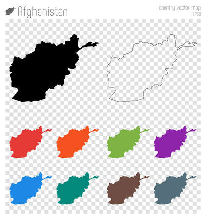 Afghanistan high detailed map. Country silhouette icon. Isolated Afghanistan black map outline. Vector illustration.
