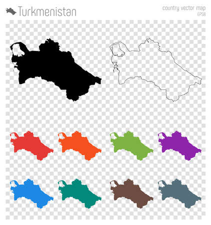 Turkmenistan high detailed map. Country silhouette icon. Isolated Turkmenistan black map outline. Vector illustration. Illustration