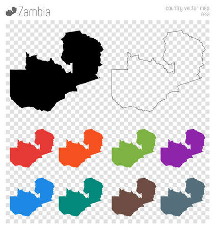 Zambia high detailed map. Country silhouette icon. Isolated Zambia black map outline. Vector illustration.