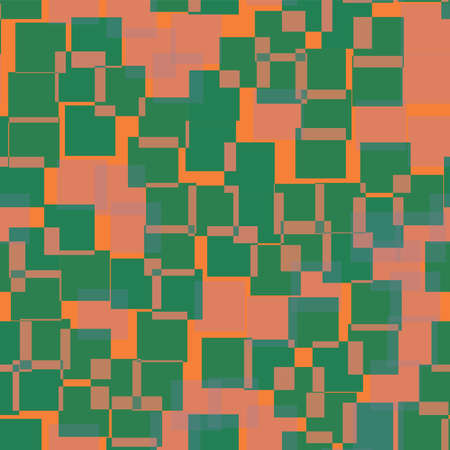 Abstract squares pattern. Orange geometric background. Cool random squares. Geometric chaotic decor. Vector illustration.