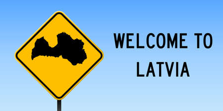 Latvia map on road sign. Wide poster with Latvia country map on yellow rhomb road sign. Vector illustration.