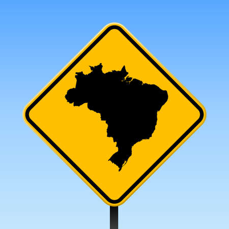 Brazil map on road sign. Square poster with Brazil country map on yellow rhomb road sign. Vector illustration.
