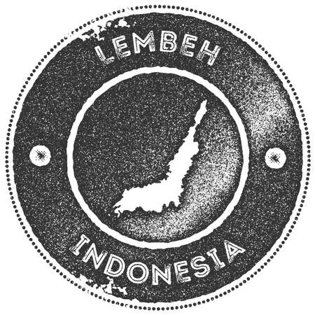 Lembeh map vintage stamp. Retro style handmade label, badge or element for travel souvenirs. Dark grey rubber stamp with island map silhouette. Vector illustration.