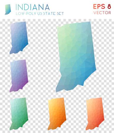 Mappe poligonali geometriche dell'Indiana, collezione di stato americano in stile mosaico. Curioso stile low poly, design moderno. Mappe poligonali dell'Indiana per infografica o presentazione.