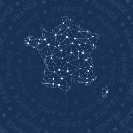 France network, constellation style country map. Flawless space style, modern design. France network map for infographics or presentation.