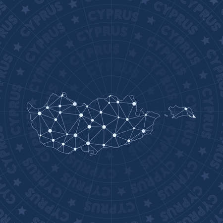 Cyprus network, constellation style country map. Enchanting space style, modern design. Cyprus network map for infographics or presentation.
