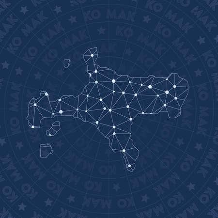 Ko Mak network, constellation style island map. Vibrant space style, modern design. Ko Mak network map for infographics or presentation.