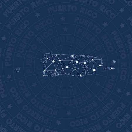 Puerto Rico network, constellation style country map. Alive space style, modern design. Puerto Rico network map for infographics or presentation.