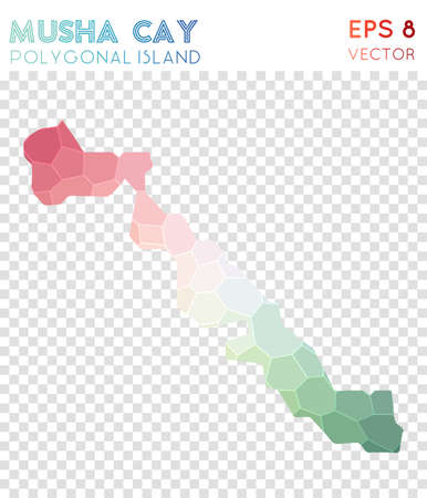 Musha Cay polygonal map, mosaic style island. Ecstatic low poly style, modern design. Musha Cay polygonal map for infographics or presentation.