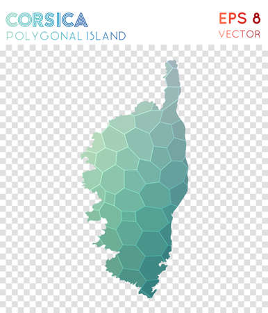 Corsica polygonal map, mosaic style island. Modern low poly style, modern design. Corsica polygonal map for infographics or presentation.