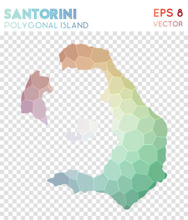 Santorini polygonal map, mosaic style island. Majestic low poly style, modern design. Santorini polygonal map for infographics or presentation.