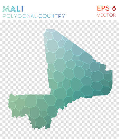 Mali polygonal map, mosaic style country. Sightly low poly style, modern design. Mali polygonal map for infographics or presentation.