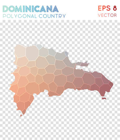 Dominicana polygonal map, mosaic style country. Extra low poly style, modern design. Dominicana polygonal map for infographics or presentation. Ilustração