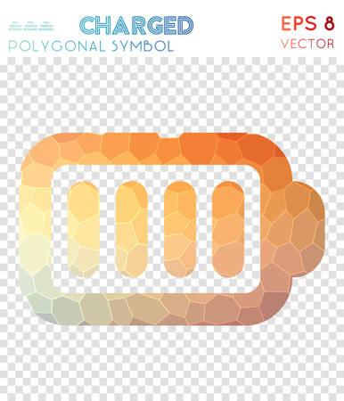 100% polygonal symbol. Admirable mosaic style symbol. Alive low poly style. Modern design. 100% icon for infographics or presentation. Ilustración de vector