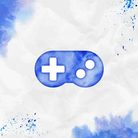 Gamepad watercolor icon. Amusing hand drawn style symbol. Original watercolor symbol. Modern design for infographics or presentation.