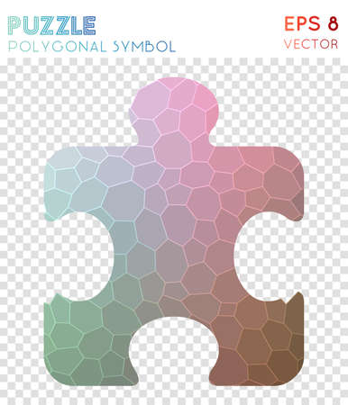 Puzzle polygonal symbol. Authentic mosaic style symbol. Rare low poly style. Modern design. Puzzle icon for infographics or presentation.