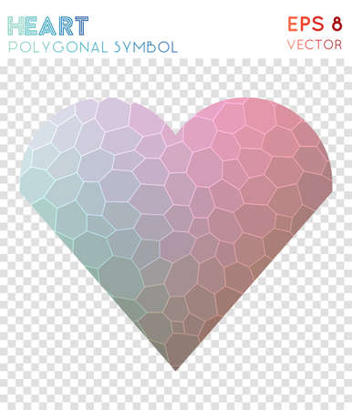 Heart polygonal symbol. Appealing mosaic style symbol. Enchanting low poly style. Modern design. Heart icon for infographics or presentation. Illustration