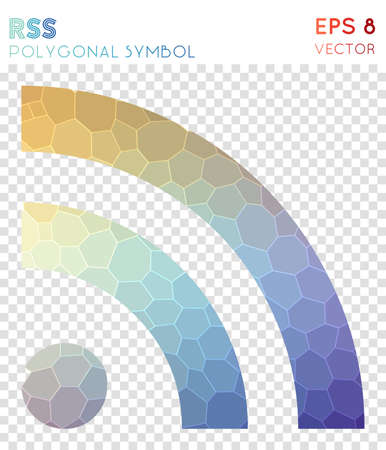 Rss polygonal symbol. Awesome mosaic style symbol. Ravishing low poly style. Modern design. Rss icon for infographics or presentation.