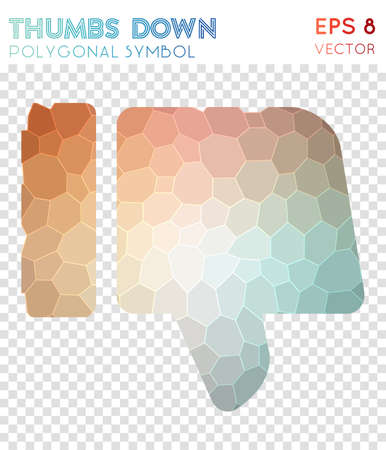 Thumbs down polygonal symbol. Beautiful mosaic style symbol. Shapely low poly style. Modern design. Thumbs down icon for infographics or presentation. Illusztráció