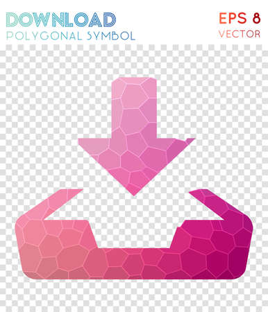 Download polygonal symbol. Alluring mosaic style symbol. Lovely low poly style. Modern design. Download icon for infographics or presentation.