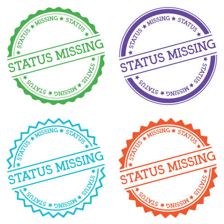 Status missing badge isolated on white background. Flat style round label with text. Circular emblem vector illustration.