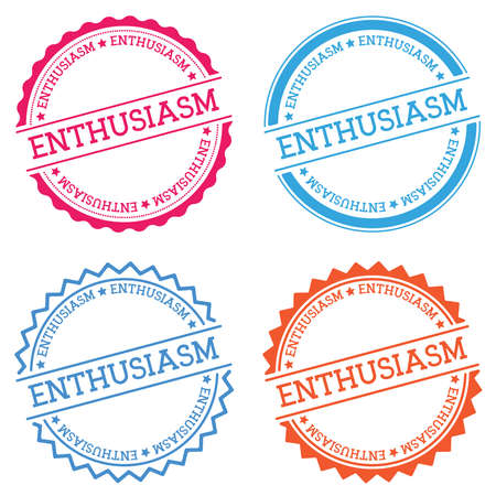 ENTHUSIASM badge isolated on white background. Flat style round label with text. Circular emblem vector illustration.