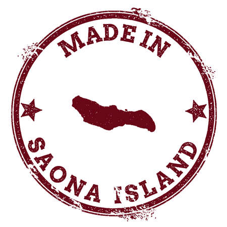 Saona Island seal. Vintage island map sticker. Grunge rubber stamp with Made in text and map outline, vector illustration. Ilustração