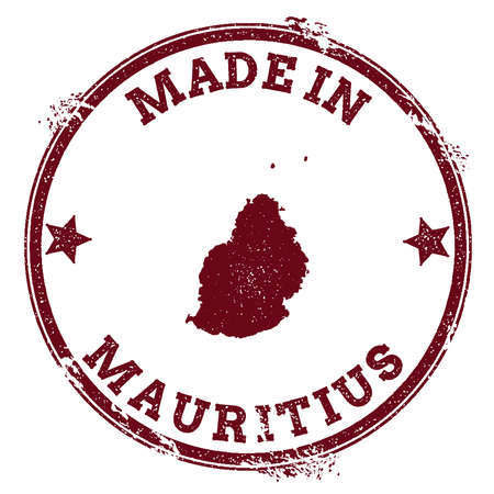 Mauritius seal. Vintage island map sticker. Grunge rubber stamp with Made in text and map outline, vector illustration. Vetores