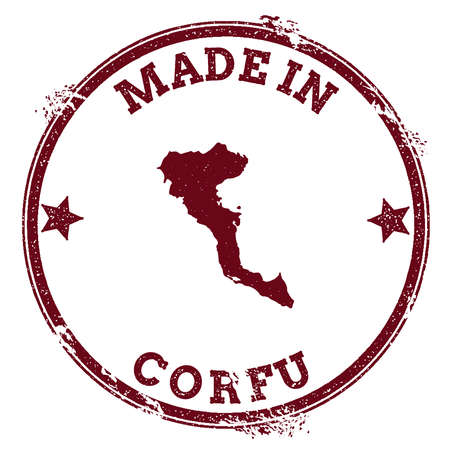Corfu seal. Vintage island map sticker. Grunge rubber stamp with Made in text and map outline, vector illustration.