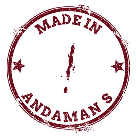 Andaman Islands seal. Vintage island map sticker. Grunge rubber stamp with Made in text and map outline, vector illustration.