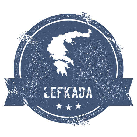 Lefkada logo sign. Travel rubber stamp with the name and map of island, vector illustration. Can be used as insignia, logotype, label, sticker or badge.