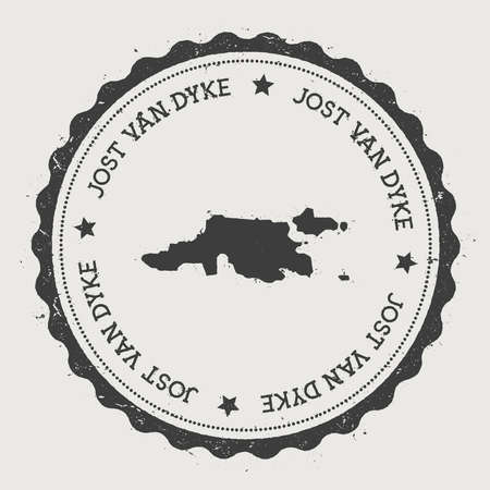 Jost Van Dyke sticker. Hipster round rubber stamp with island map. Vintage passport sign with circular text and stars, vector illustration.