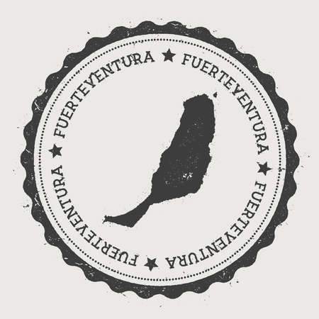 Fuerteventura sticker. Hipster round rubber stamp with island map. Vintage passport sign with circular text and stars, vector illustration.