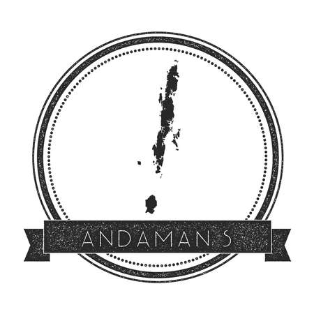 Andaman Islands map stamp. Retro distressed insignia. Hipster round badge with text banner. Island vector illustration. Illustration