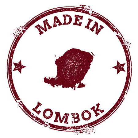 Lombok seal. Vintage island map sticker. Grunge rubber stamp with Made in text and map outline, vector illustration.